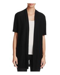 Eileen Fisher   Black Short Sleeve Open Cardigan   Lyst