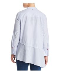 Marina Rinaldi - White Plus Asymmetrical Cotton Button-down Shirt - Lyst
