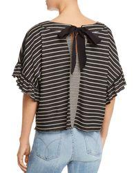 Ella Moss - Black Reversible Striped Cropped Top - Lyst