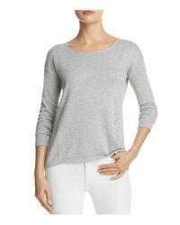 Aqua - Gray Distressed Slit-back Sweater - Lyst