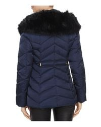 T Tahari - Blue Paris Faux Fur Trim Puffer Coat - Lyst
