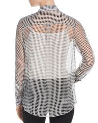 Theory - Women's Silk Button-front Blouse - Black Ivory - Lyst