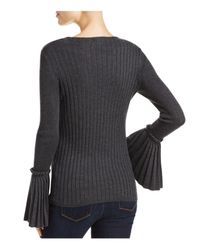 Aqua - Gray Bell Sleeve Sweater - Lyst
