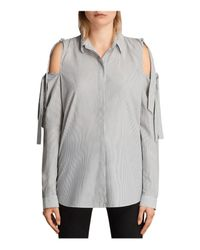 AllSaints | Gray Evelyn Striped Shirt | Lyst