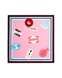 Kate Spade - Pink Travel Stickers Square Silk Scarf - Lyst