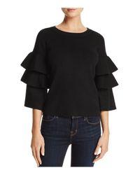 Aqua - Black Tiered Sleeve Sweater - Lyst