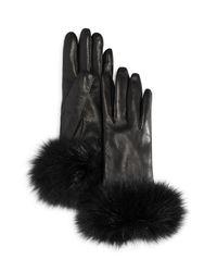 Bloomingdale's - Black Fox Fur Cuffed Leather Gloves - Lyst