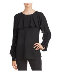 Ella Moss - Black Stella Ruffled Long-sleeve Top - Lyst