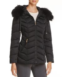 T Tahari - Black Paris Faux Fur Trim Puffer Coat - Lyst