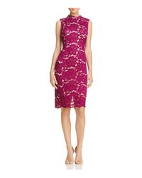 Adrianna Papell - Red Mock Neck Lace Dress - Lyst