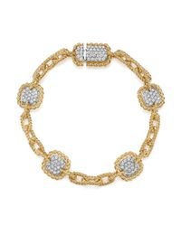 Roberto Coin - Metallic 18k White & Yellow Gold New Barocco Diamond Square Chain Link Bracelet - Lyst