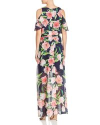 Eliza J - Blue Floral Cold-shoulder Gown - Lyst
