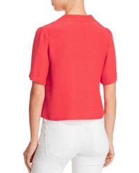 Aqua - Red Cropped Pajama Shirt - Lyst