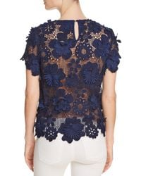 Aqua - Blue Floral Appliqué Lace Top - Lyst