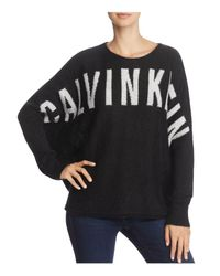 Calvin Klein | Black Sari Logo Batwing Sweater | Lyst