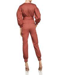 BCBGMAXAZRIA - Red Balloon-sleeve Pleated Jumpsuit - Lyst