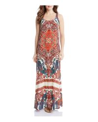 Karen Kane | Multicolor Print Side Slit Maxi Dress | Lyst