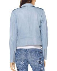 MICHAEL Michael Kors - Blue Leather Moto Jacket - Lyst