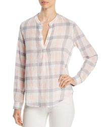 Three Dots - Pink Plaid Gauze Shirt - Lyst