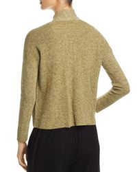 Eileen Fisher - Green Marled Open-front Cardigan - Lyst