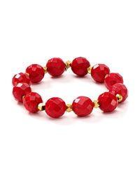 Bourbon and Boweties - Red Faceted Stretch Bracelet - Lyst