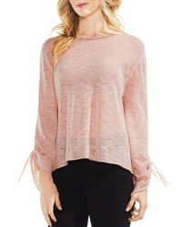 Vince Camuto - Pink Drawstring Cuff Pointelle Sweater - Lyst