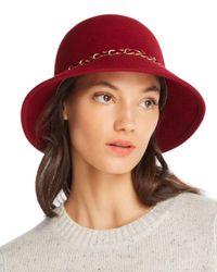 august hat company - Red Feelin It Chain-trim Wool Cloche - Lyst
