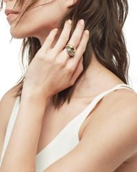 John Hardy - Metallic Classic Chain Hammered 18k Gold And Sterling Silver Ring - Lyst