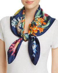 Echo - Blue Blooms Of Oceania Silk Square Scarf - Lyst