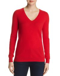C By Bloomingdale's - Red V-neck Cashmere Sweater - Lyst