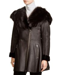 Maximilian - Gray Maximilian Shearling Coat With Toscana Shearling-trimmed Hood - Lyst