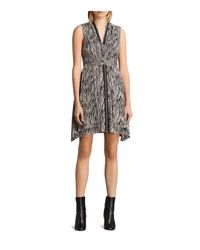 AllSaints - Black Jayda Zebra-print Silk Dress - Lyst