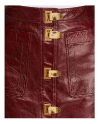 Tory Burch - Red Bianca A-line Leather Skirt - Lyst