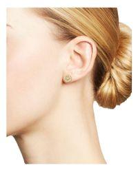 Meira T | Metallic 14k Yellow Gold Filigree Charm Stud Earrings With Diamonds | Lyst