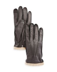 Bloomingdale's - Brown Deerskin Tech Tip Gloves - Lyst