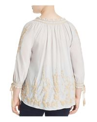 Lucky Brand - Multicolor Embroidered Peasant Top - Lyst