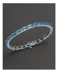 Bloomingdale's - Blue Topaz Bracelet In 14k White Gold - Lyst