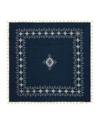 Tory Burch - Blue Tassel Embroidered Geometric Scarf - Lyst