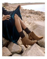 Gentle Souls - Brown Troy Suede Block Heel Booties - Lyst