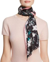 Kate Spade - Black Botanical Silk Oblong Scarf - Lyst