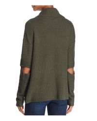 Aqua - Green Slit Sleeve Cowl Neck Sweater - Lyst