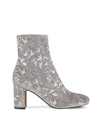 Marc Fisher - Gray Grazi Flocked Velvet Booties - Lyst