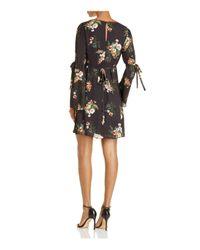 June & Hudson Black Floral Bell-sleeve Dress