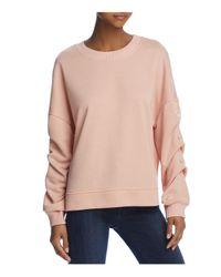 Aqua - Pink Gathered-sleeve Sweatshirt - Lyst