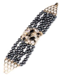 Carolee - Metallic Cultured Freshwater Pearl Multi Row Bracelet - Lyst