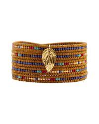Chan Luu - Metallic Mix Seed Bead Bracelet On Henna Leather With Gold Leaf - Lyst