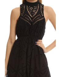 Zimmermann - Black Harlequin Broderie-anglaise Cotton Midi Dress - Lyst