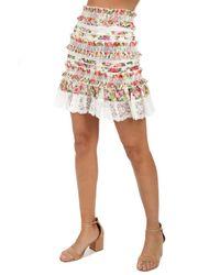 Zimmermann - White Radiate Smocked Skirt - Lyst