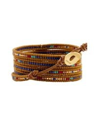 Chan Luu - Metallic Mix Seed Bead Bracelet On Henna Leather With Gold Leaf - Lyst