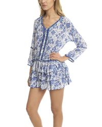 Poupette - Blue Boho Mini Dress - Lyst